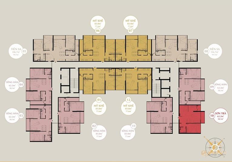 Mặt bằng tầng điển hình The Sang Residence Đà Nẵng