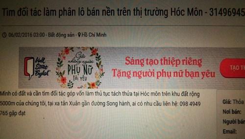 Mời gọi qua mạng góp vốn phân nền đất ở huyện Hóc Môn