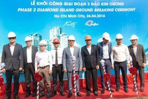 Ông Nguyễn Bá Dương – Chủ tịch Coteccons trong buổi lễ khởi công giai đoạn 2 Đảo Kim Cương