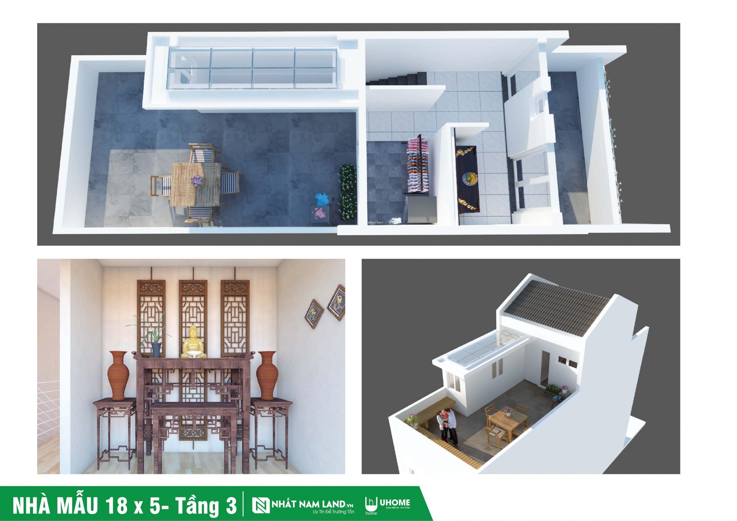 Thiết kế nhà mẫu tầng 3 dự án Uhome