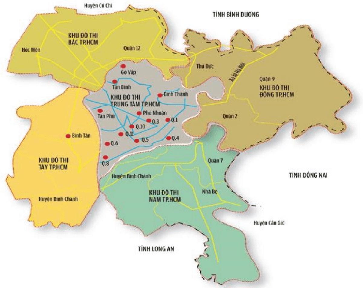 Bản đồ huy hoạch các khu đô thị Hồ Chí Minh