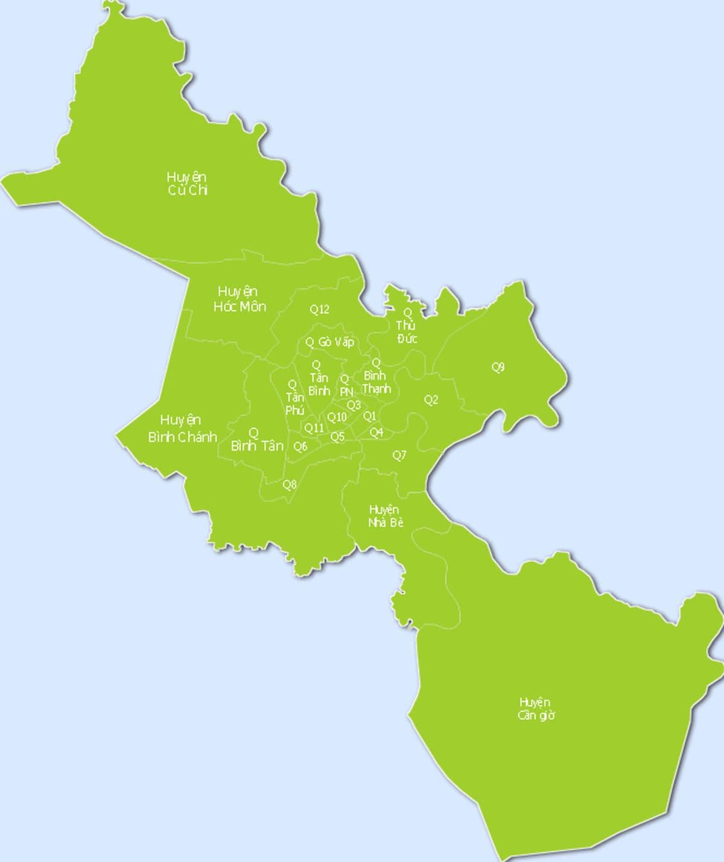 Bản đồ huy hoạch các quận trong thành phố Hồ Chí Minh
