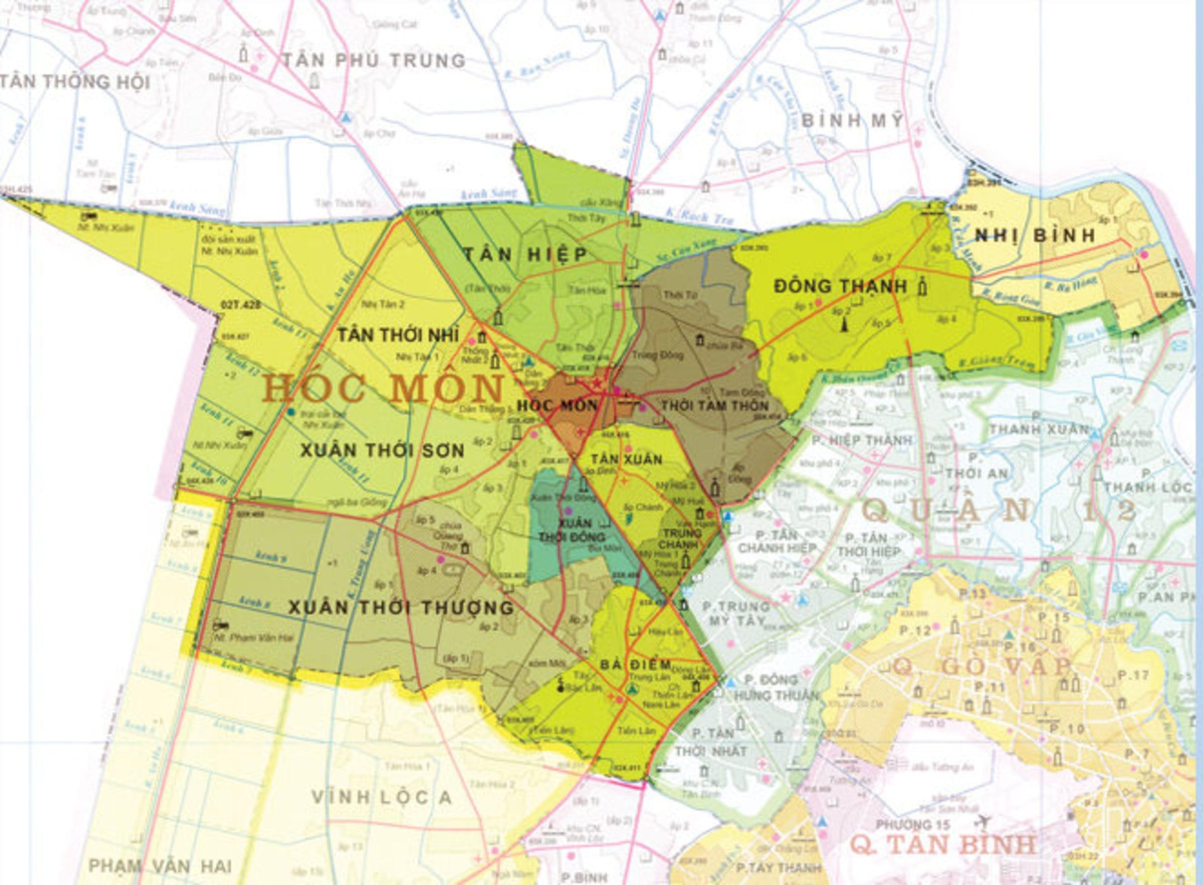 Bản đồ huyện Hóc Môn TPHCM