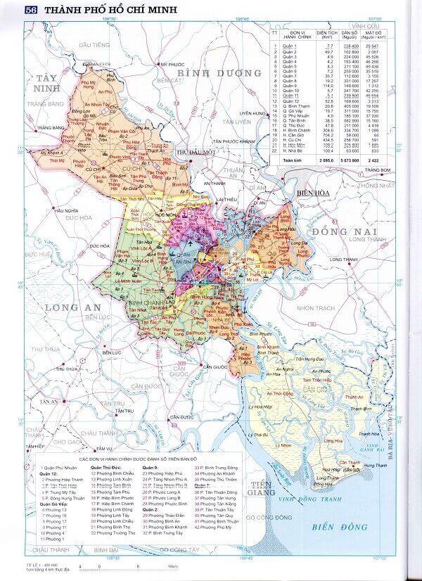 Bản đồ mật độ dân số các Quận tại thành phố Hồ Chí Minh