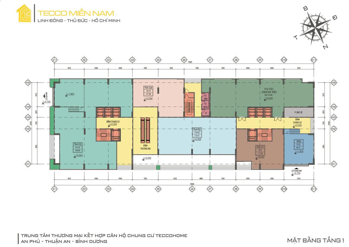 Mặt bằng tầng 1 của dự án Tecco Home An Phú Bình Dương