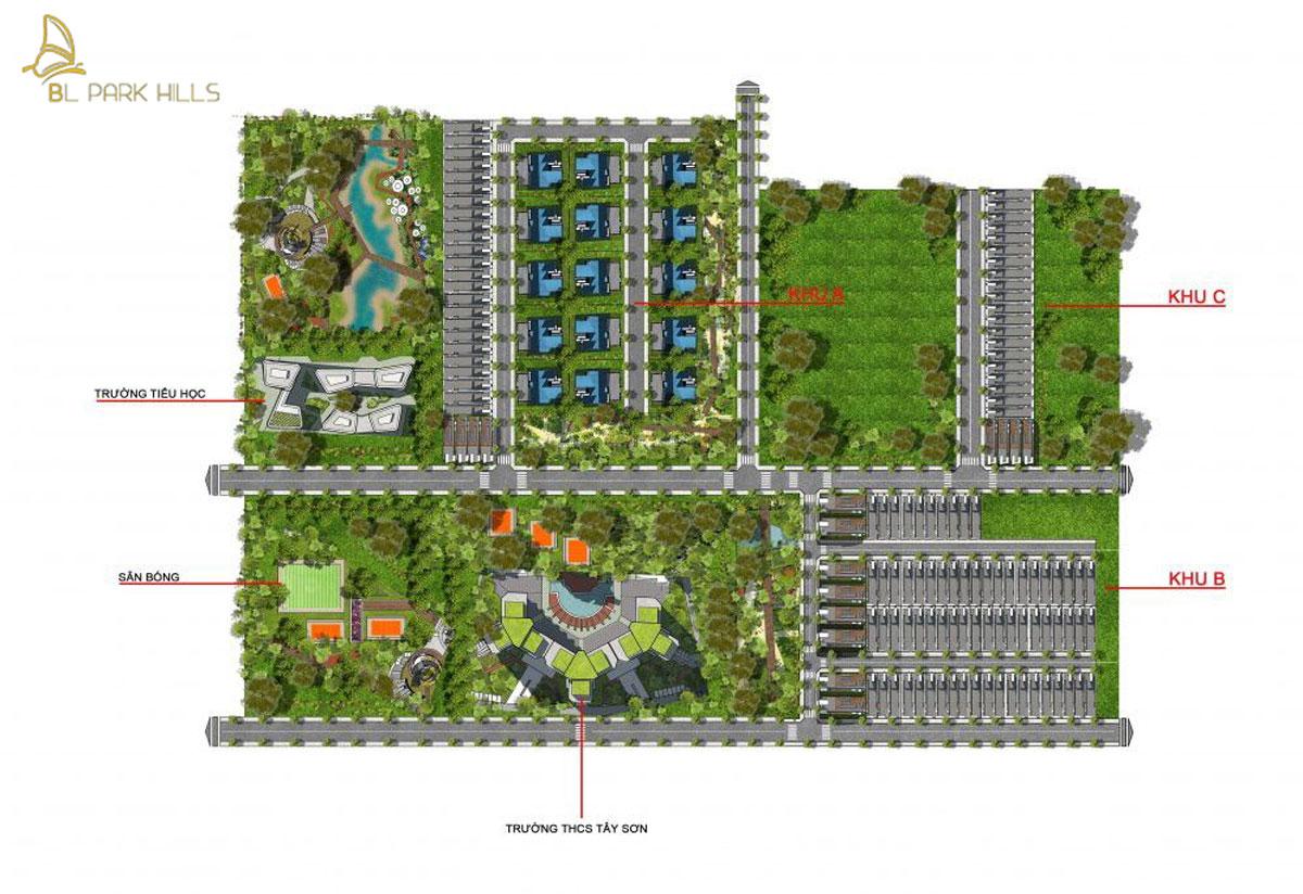 Mặt bằng tổng thể dự án Bảo Lộc Park Hill
