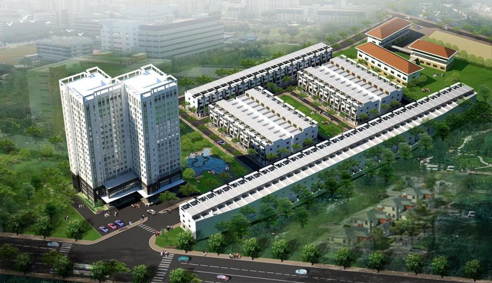 Phối cảnh một khu đất hỗn hợp xây dựng trung tâm thương mại và nhà ở