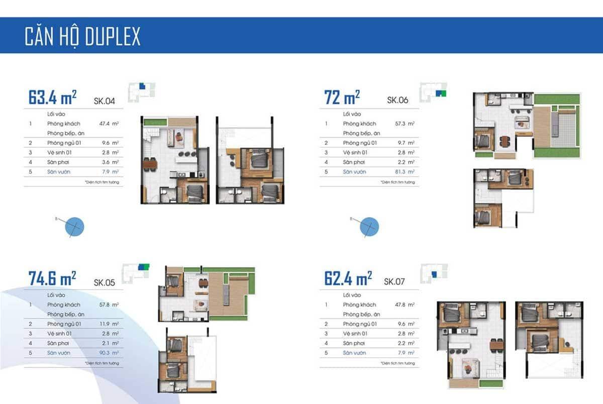 Mặt bằng căn hộ Duplex điển hình tại ST Moritz