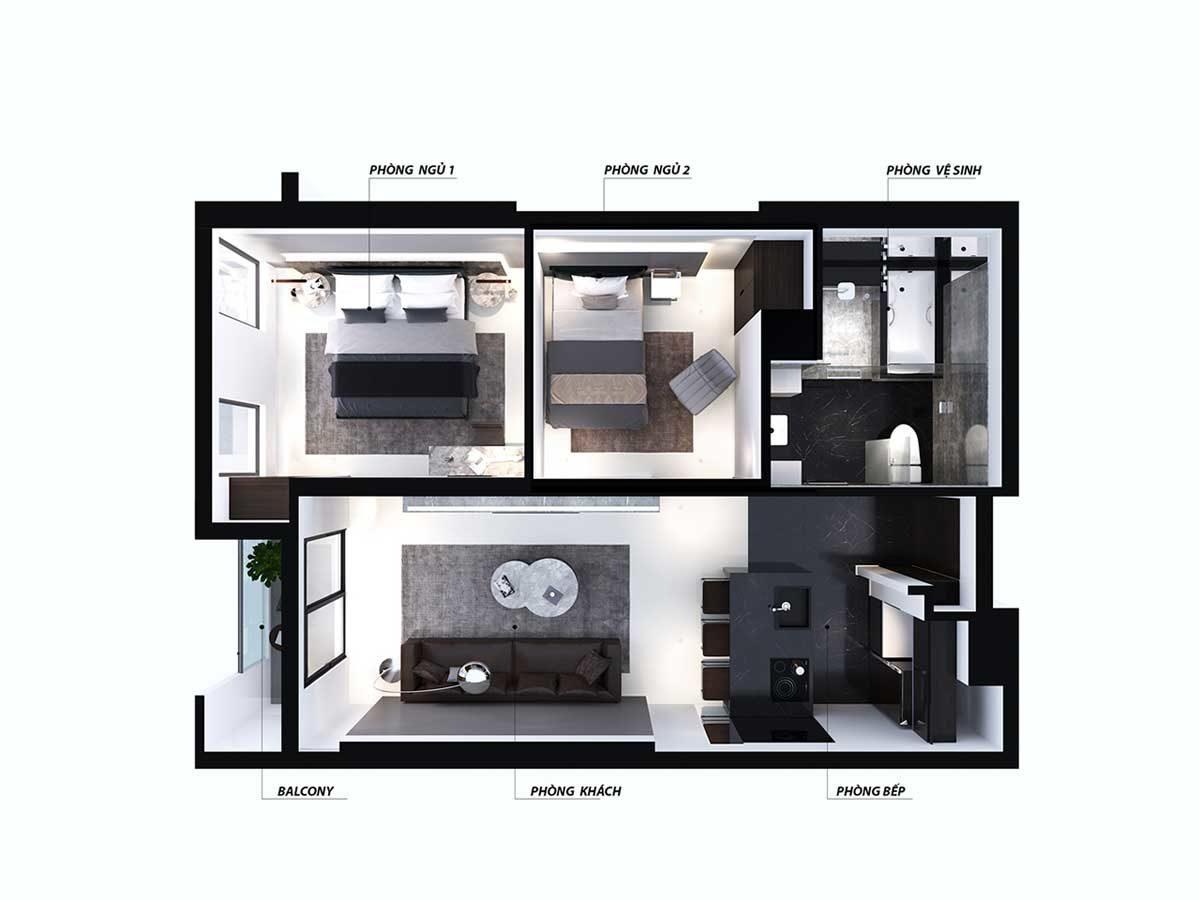 Thiết kế căn hộ 2 phòng ngủ Nagomi Waterfront Tower