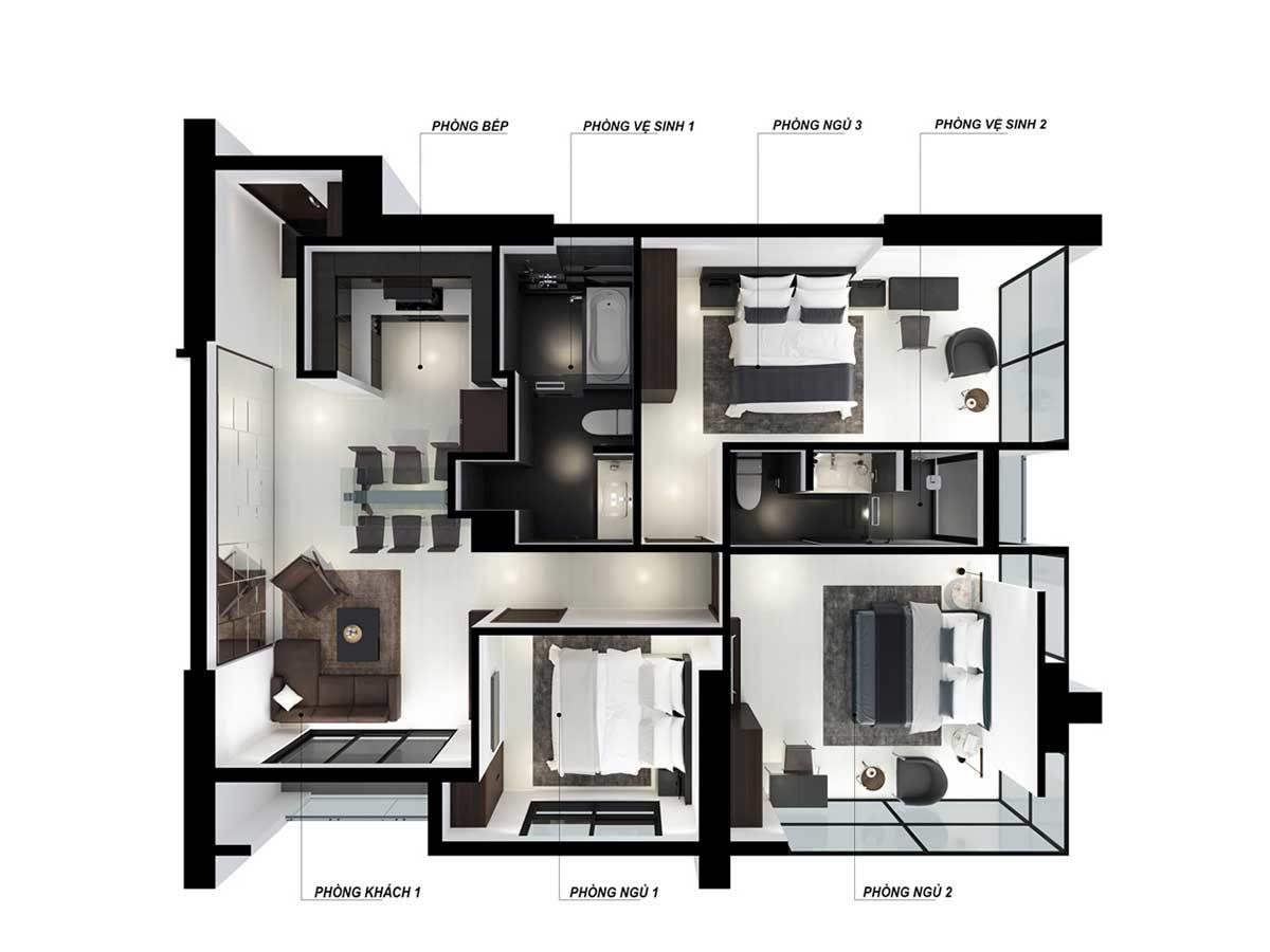 Thiết kế căn hộ 3 phòng ngủ Nagomi Waterfront Tower