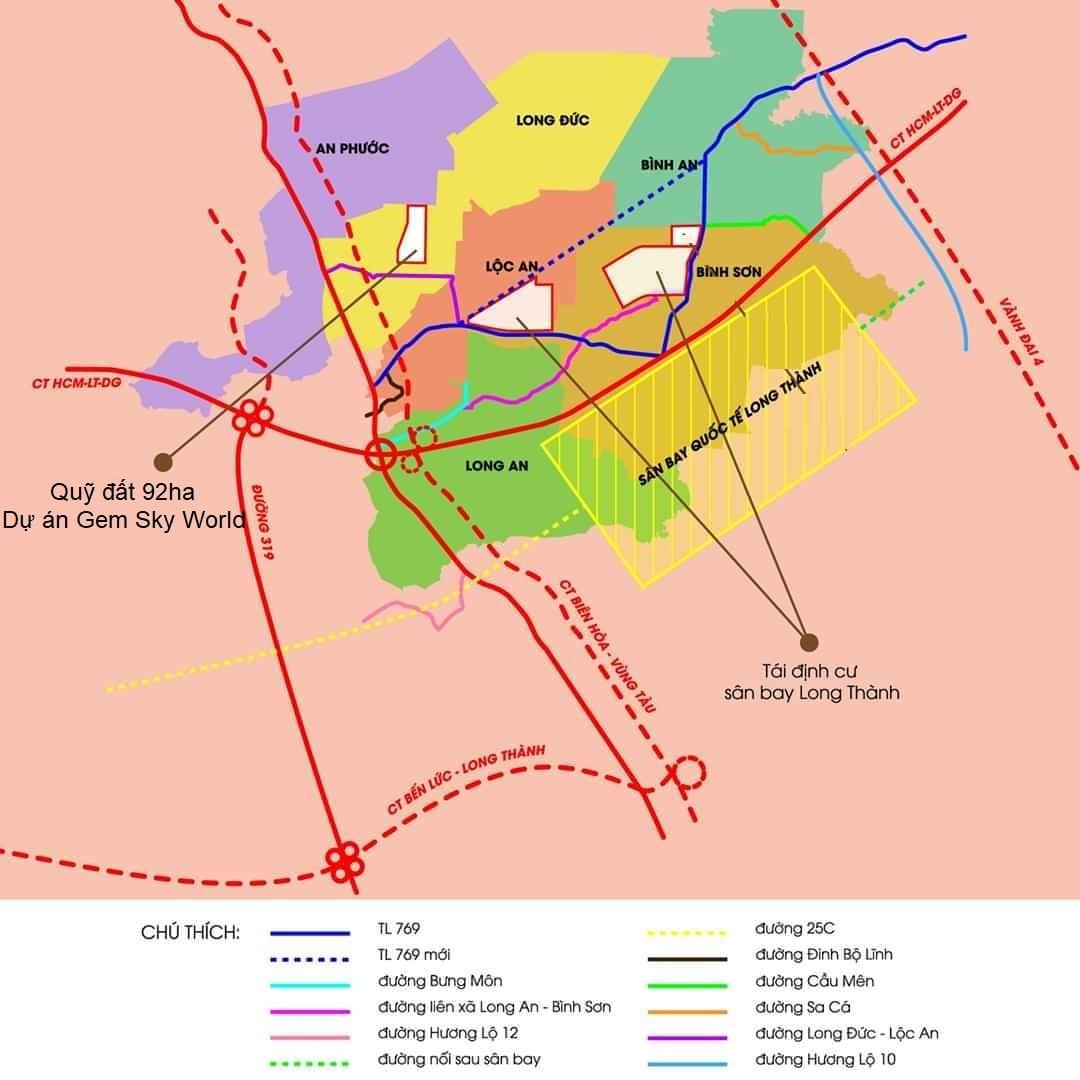 Vị trí của Gem Sky World so với sân bay Long Thành