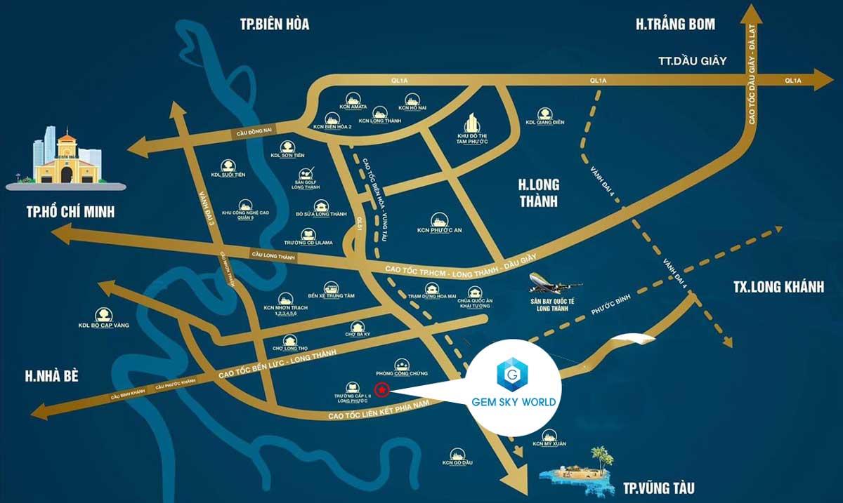 Vị trí dự án Gem Sky World tại Long Thành Đồng Nai
