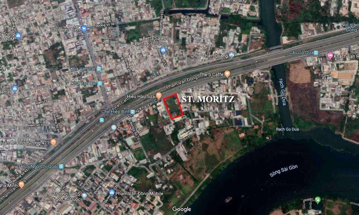 Vị trí thực tế dự án ST Moritz xem bằng Google Maps
