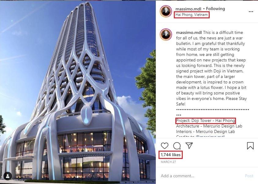 Tháp Doji Tower Hải Phòng được đăng tải trên Instagram của nhà thiết kế Massimo Mercurio, Mercurio Design Lab
