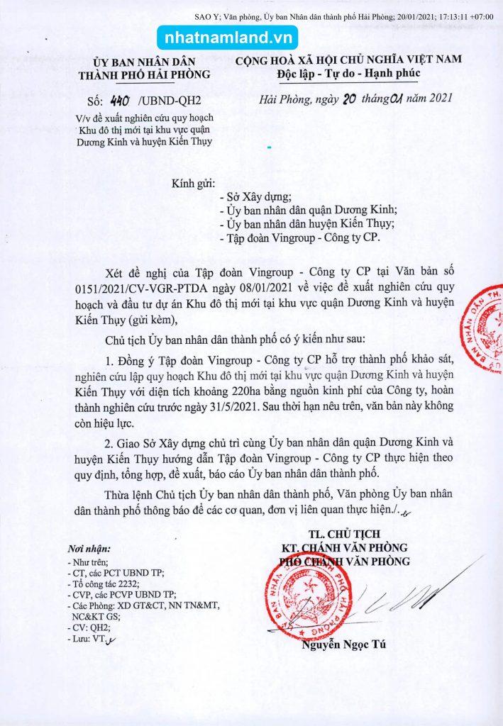 Công văn chấp thuận Vingroup được phép nghiên cứu quy hoạch Vinhomes Dương Kinh Kiến Thụy